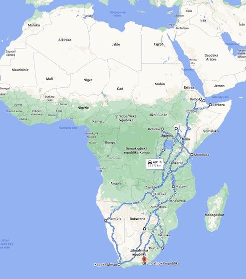 Trasa výpravy v Africe.